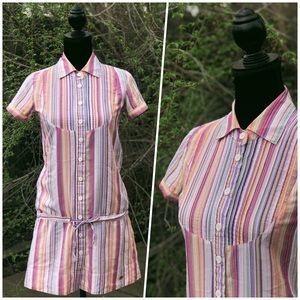 🌈Lined Colorful Button Up Tunic 64% Cotton🌈